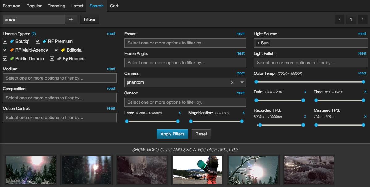nimia advanced search filters snow epic