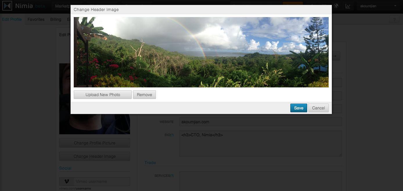 Upload Header Image Modal