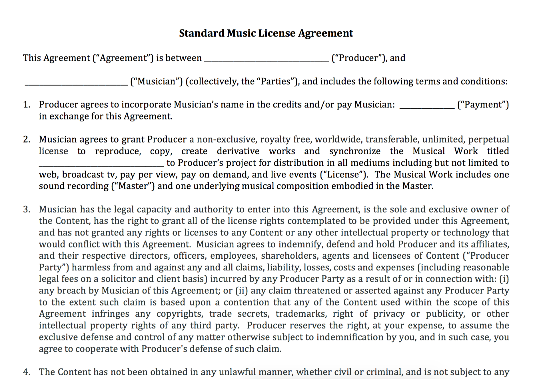 Standard music license agreement nimia for Music production contract template