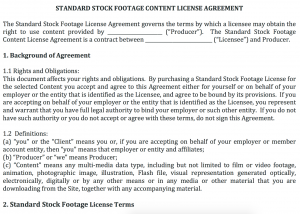 Licensing Agreement Template | Standard Stock Footage License Agreement